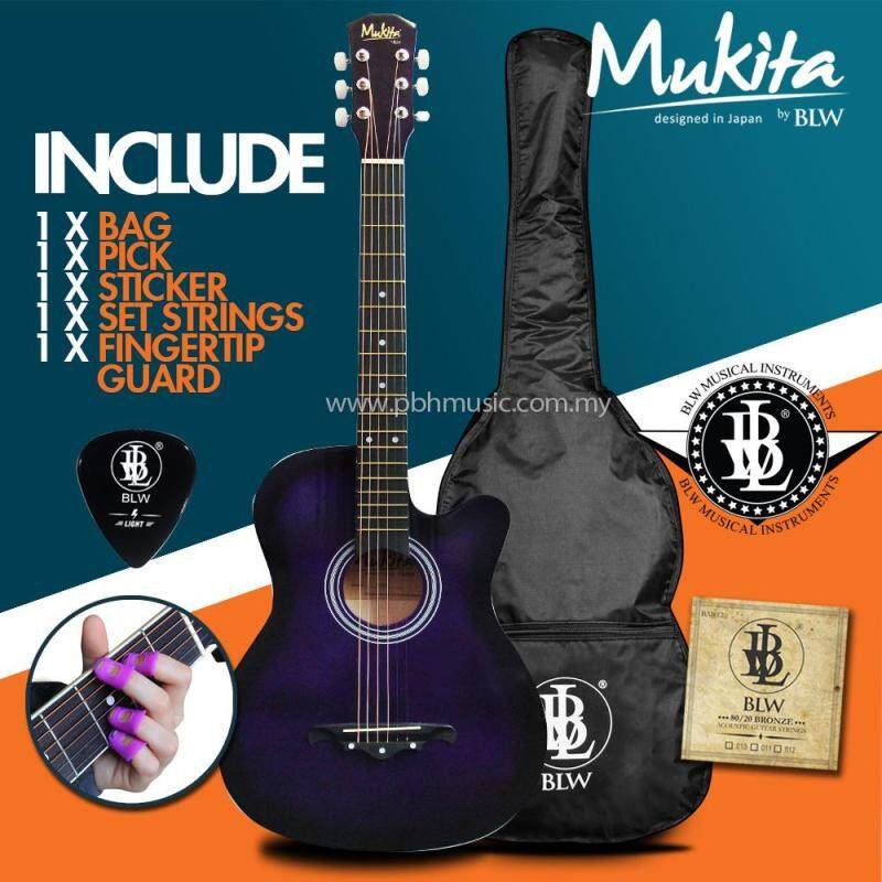 Mukita by BLW Standard Acoustic Folk Cutaway Basic Guitar Package 38 Inch for beginners with Bag, String Set, Fingertip Guard, Pick and Merchandise Sticker (Violet) Malaysia