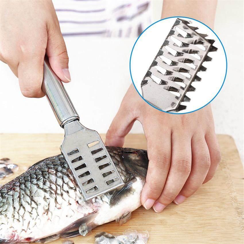 เครื่องมือทำครัวคู่มือที่ขอดเกล็ดปลาตกปลา Scalers ปลาชุดแปรงทำความสะอาดแหนบสำหรับปลาทำความสะอาด 1 PC