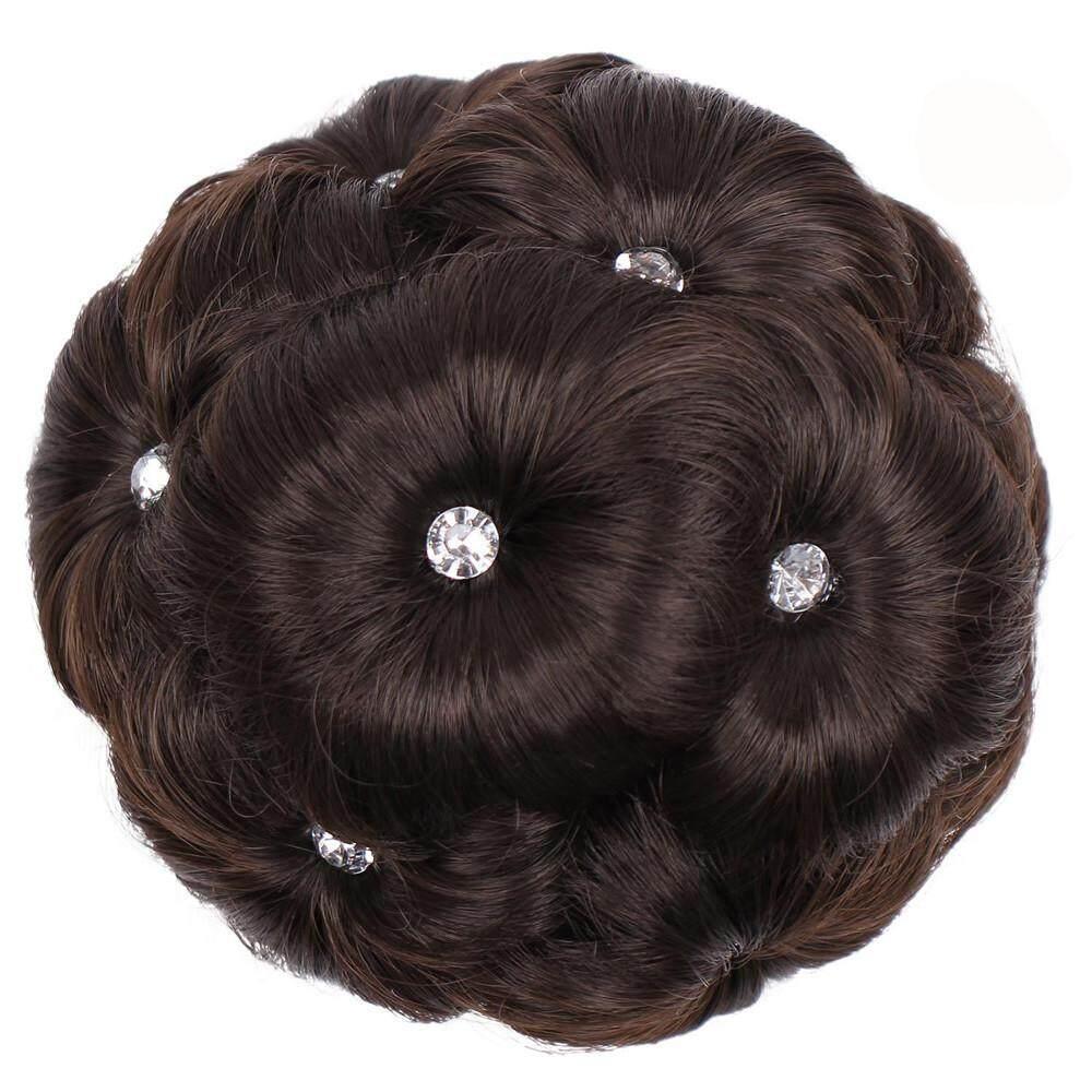 Female Wig Hair Ring Curly Bride Makeup Diamond Bun Flowers Chignon Hairpiece - intl