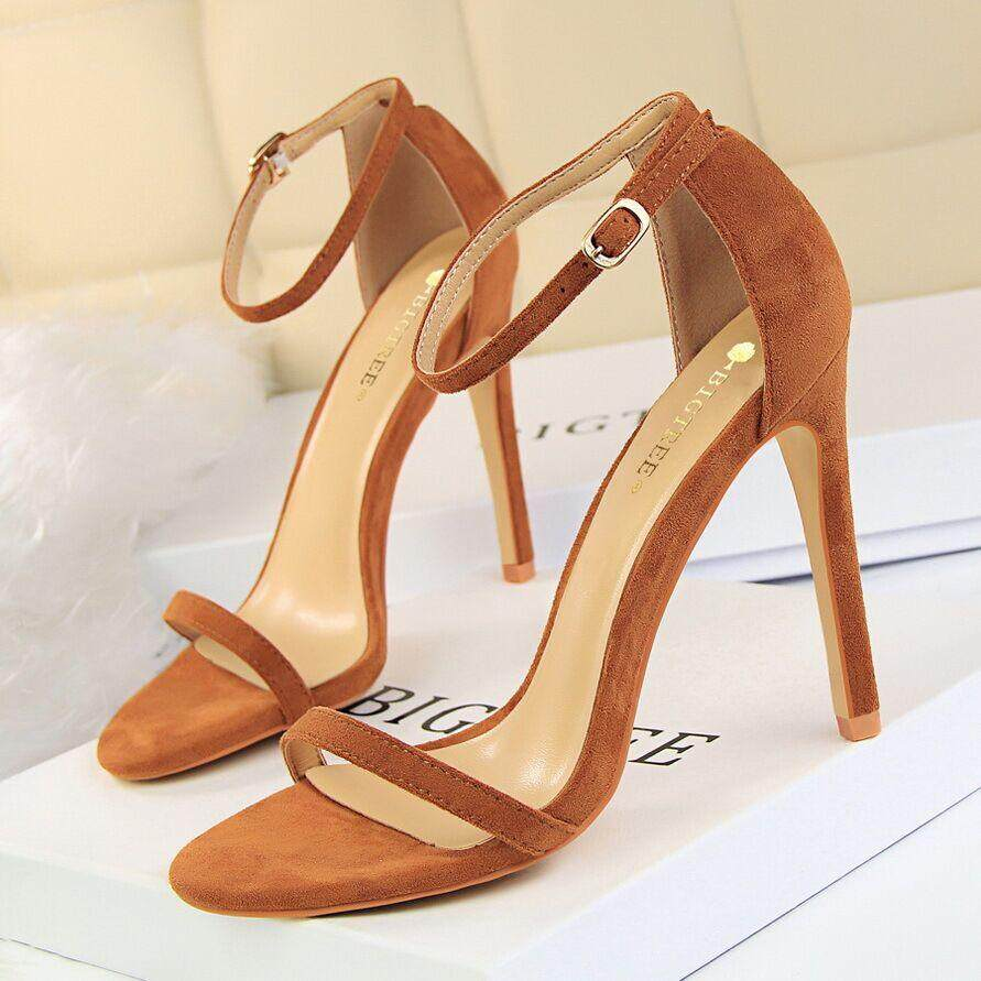 Musim Panas Hak Tinggi Modis Sandal untuk Wanita Telanjang Pompa Gesper Sepatu Hak Tinggi Wanita Sepatu Sandal Wanita Sandal Bertumit 34 ~ 40 - 2