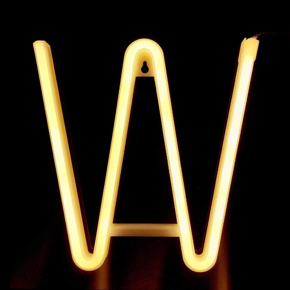 Letter Lamp Operated Powered W Shape Warm White for Home Party Decoration Cafe Shop Restaurant Wedding Function Lamp Shades W