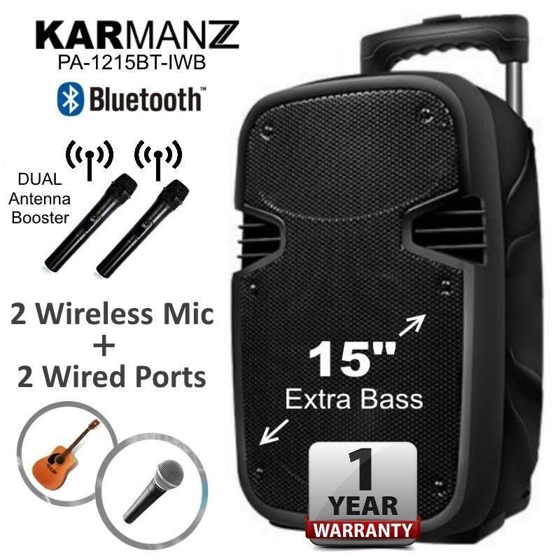 KARMANZ 15 inch Portable Trolley Speaker Amplifier Karaoke + 2 Wireless Mic Malaysia