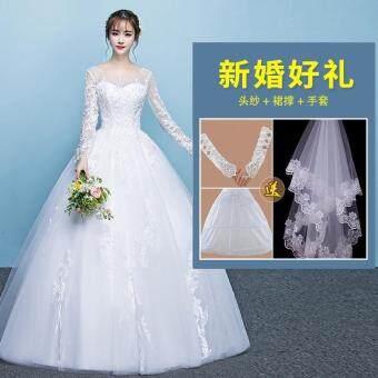 Pencarian Termurah Gaun resepsi gaun pengantin 2018 model baru musim dingin pengantin wanita model bahu terbuka Lengan panjang ukuran besar Putri fantasi ...