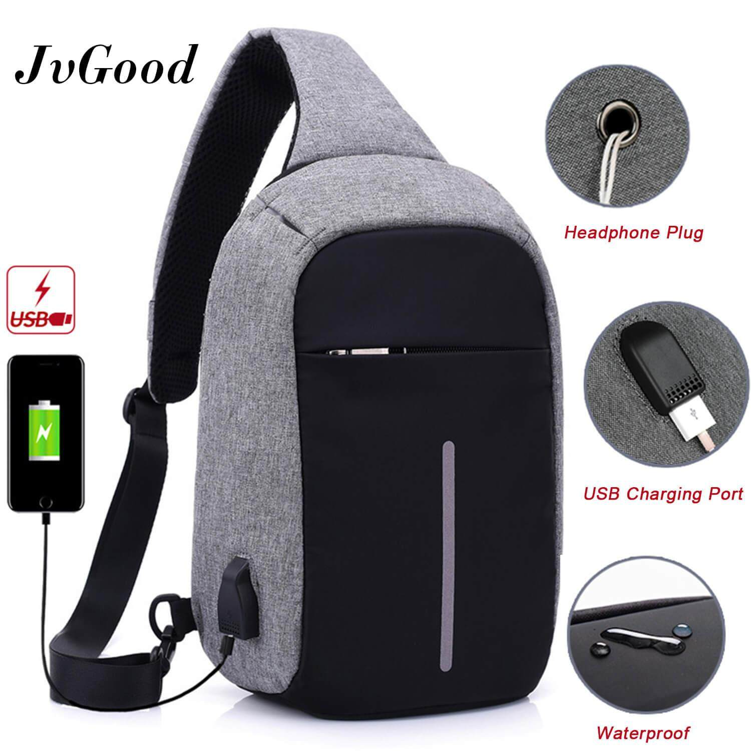 JvGood USB Charging Chest Bag Crossbody Bag Anti Theft Sling bag Lightweight Casual Daypack for Men