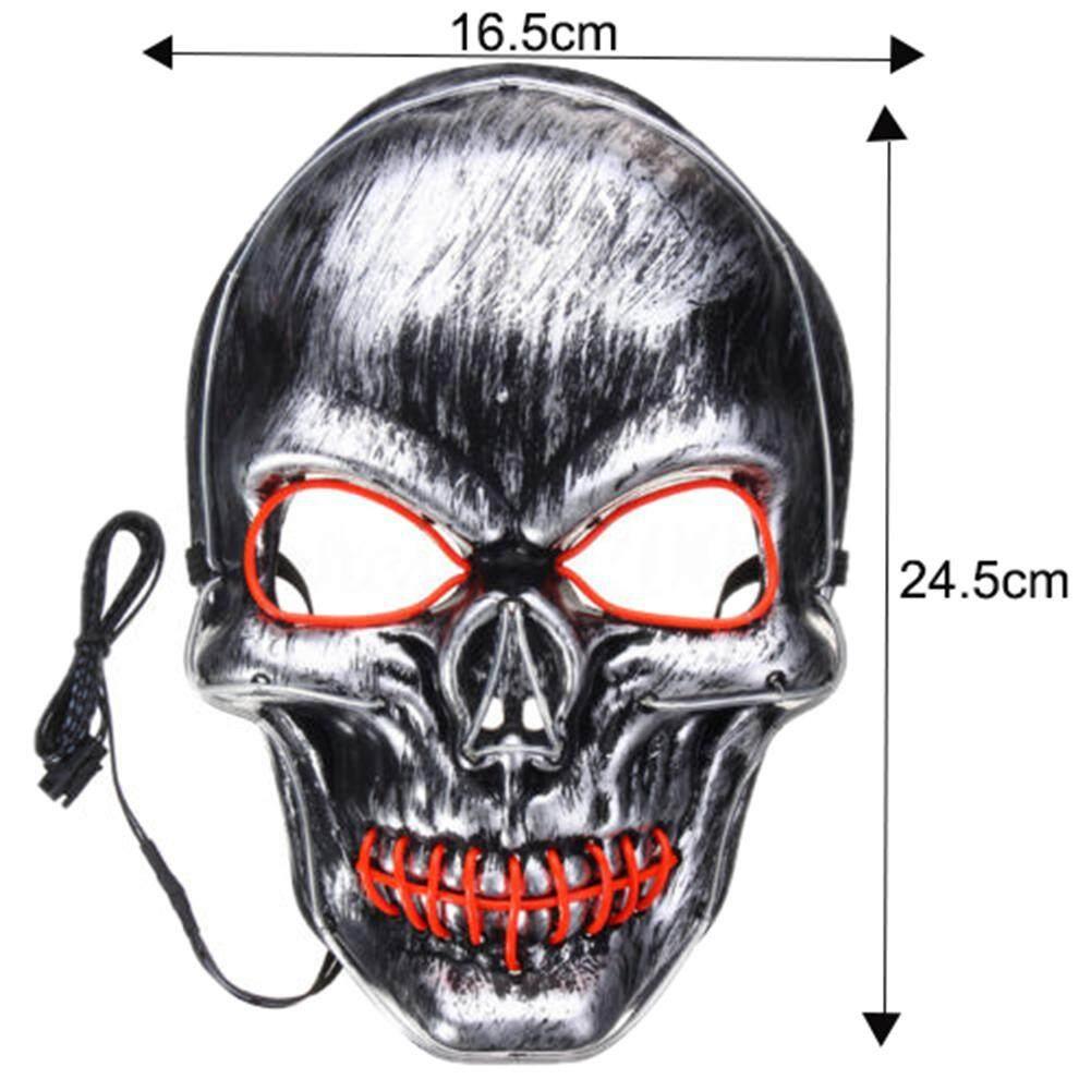 Bh Unisex Tengkorak Desain Masker El Cahaya Topeng Untuk Halloween Festival Pesta Cosplay By Bosiq Fashion.