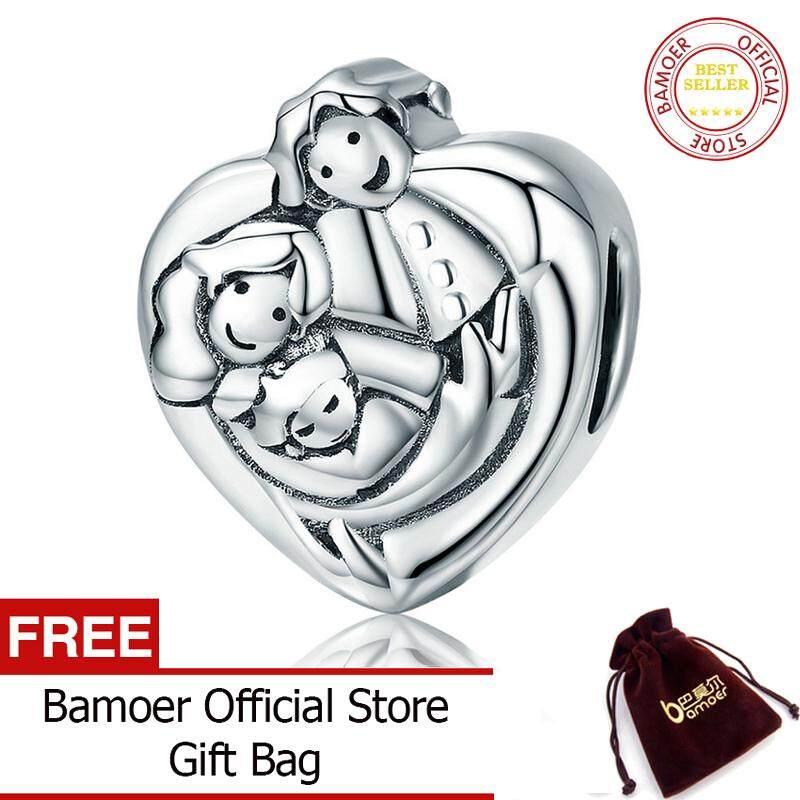 597e21b12 BAMOER Free Shpping Genuine 925 Sterling Silver Sweet Family Forever Heart  Shape September Charm Beads fit