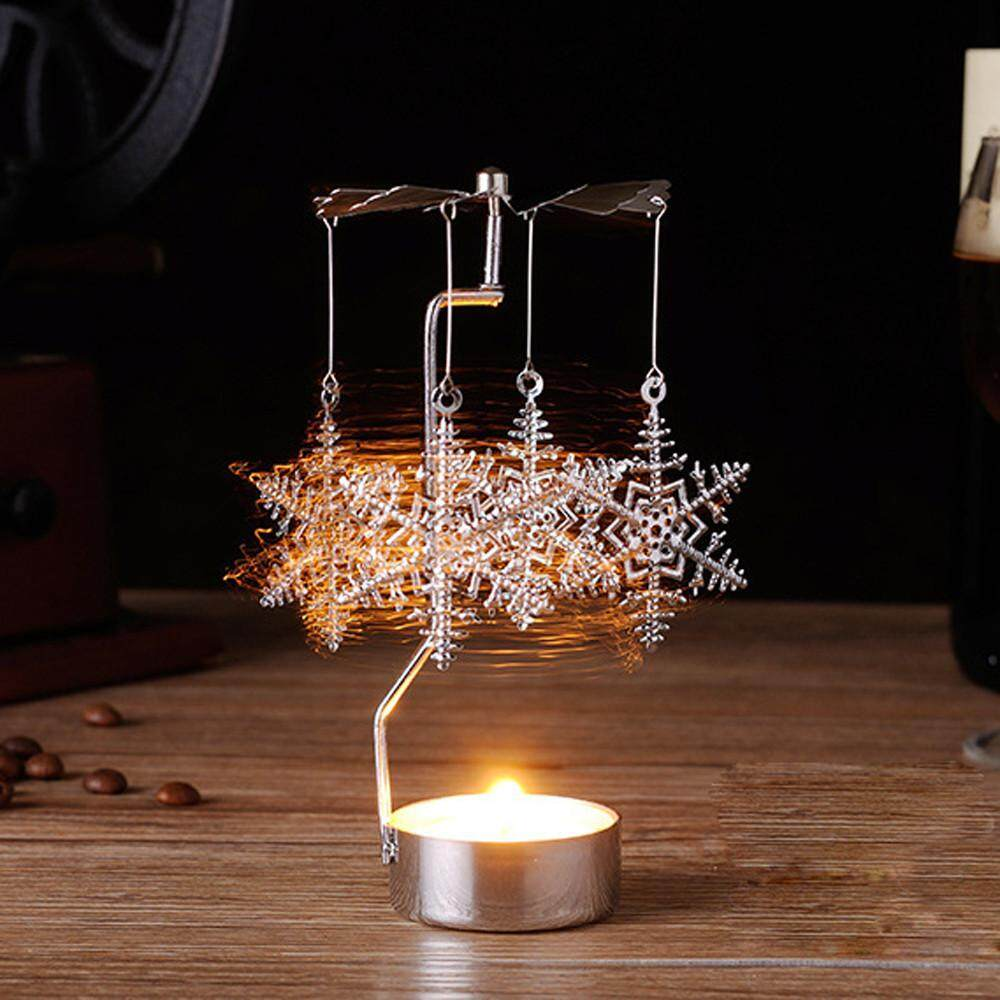 Fantnesty Spinning Rotary Metal Carousel Tea Light Candle Holder Stand Xmas Gift B