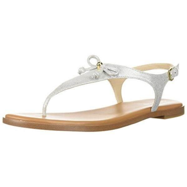 Cole Haan Wanita Findra Thong Sandal, Perak Shimmer Kulit Metalik, 9.5 B Kami-Internasional