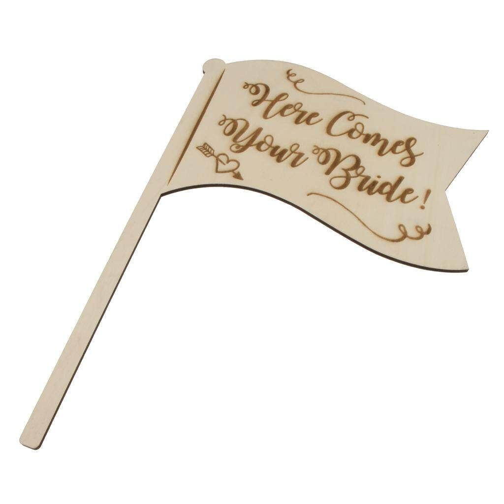 GuangquanStrade Here Comes Your Bride Wooden Handhold Flag Sign Rustic Country Wedding Decor