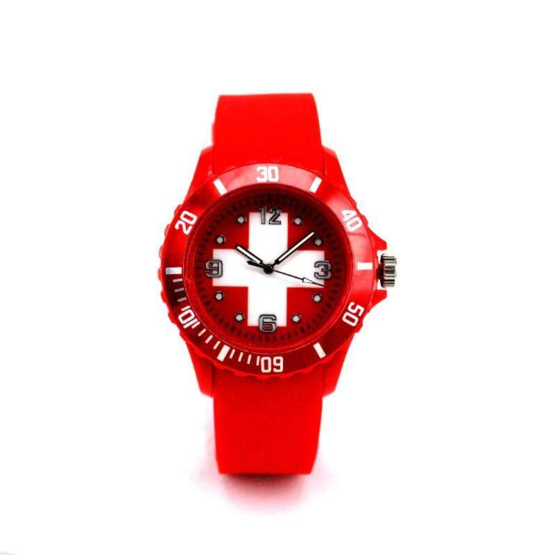 LJAN 2018 World Cup International Foot2018 Football World Cup National Flag Silicone Wristwatch FIFA Soccer Fan Switzerlandball League 22 Country Representative Flag Diagram Case Fashion Watch Switzerland Malaysia