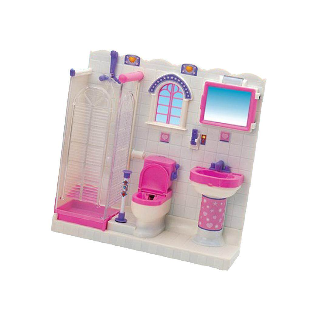 BolehDeals Plastic Bathroom Furniture and Accessories Play Set for Barbie  Doll House Kids Pretend Play Toys 8f89373ecf