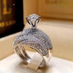 ❤Skute เครื่องประดับ 2 ชิ้นหรูหราเพชรบิดแหวนสีขาวคริสตัลถักแหวนผู้หญิงแต่งงานหมั้นเครื่องประดับชุด