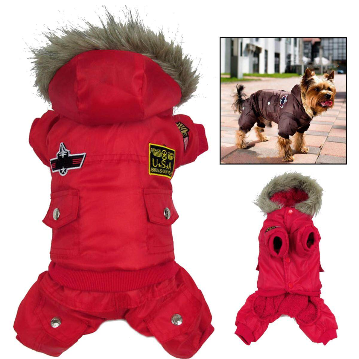 Waterproof Warm Winter Dog Coat Jacket Usa Air Force Pet Dog Clothes Xs-Xl  S By Moonbeam.