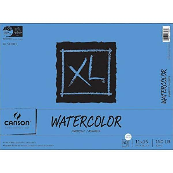 Canson XL Series Watercolor Textured Paper Pad for Paint, Pencil, Ink, Charcoal, Pastel, and Acrylic, Fold Over, 140 Pound, 11 x 15 Inch, 30 Sheets - intl