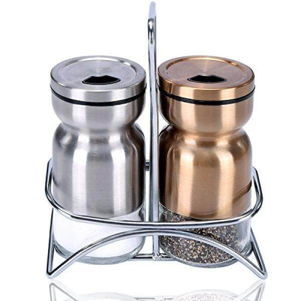 Tupperware Salt & Pepper Shaker Sets GONGSHI Salt and Pepper Shakers with Stand, Spice Shakers,Brushed Stainless Steel Encasing with Adjustable Pour Holes,Set of 2 (Silver and Gold) - intl