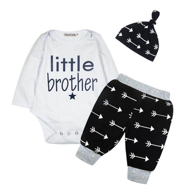 Bayi Lengan Panjang Uniseks Romper dengan Tulisan Panah Celana Motif dengan Topi-Intl