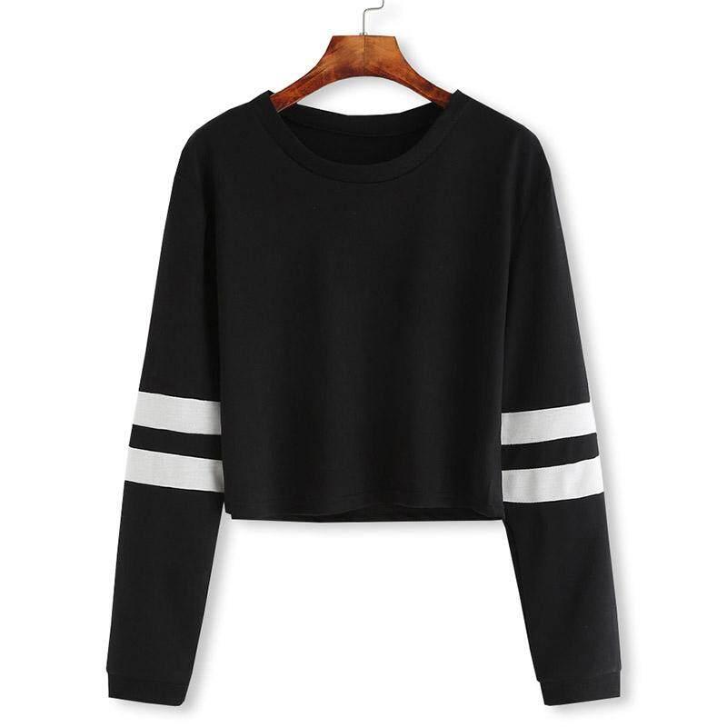 8d4b0527 BZY Newest Women Striped Long Sleeve Crewneck Crop Top Sweatshirt Pullover  For Spring Autumn