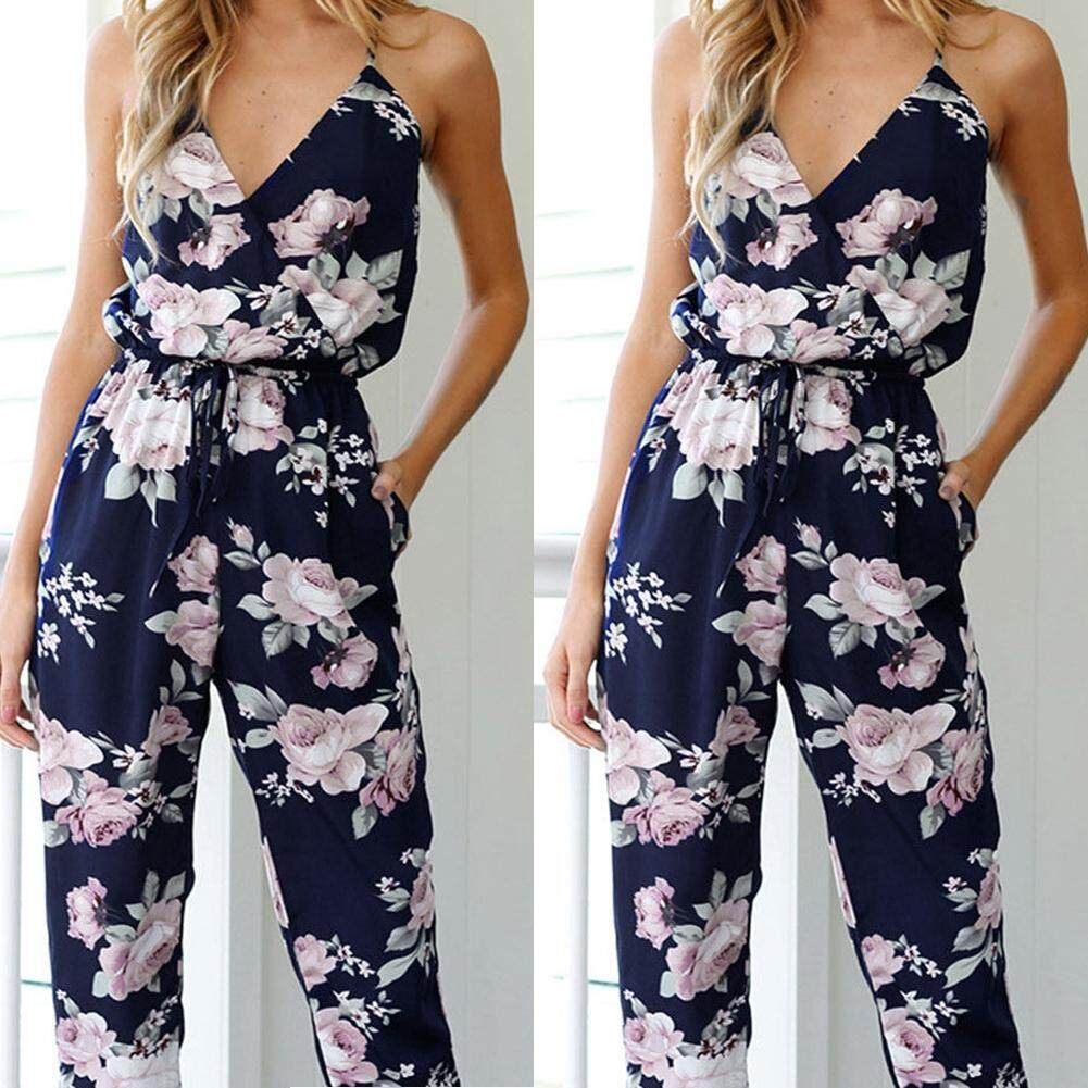 9feaeaea41b Womens Backless Jumpsuit Sleeveless V-Neck Floral Ladies Party Playsuit  Romper