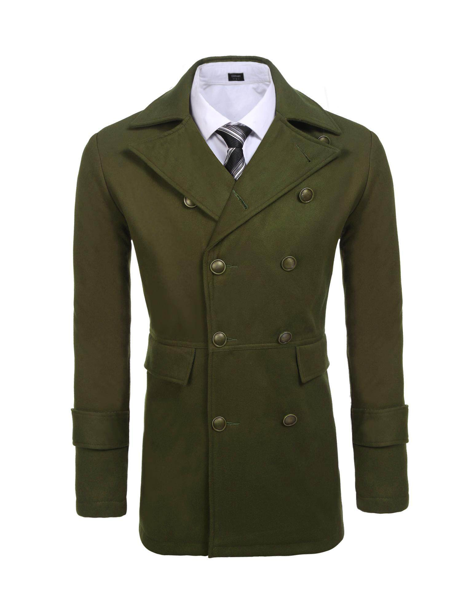Sales New Astar Men Solid Classic Woolen Long Double Breasted Pea Coat Outwear(Green)