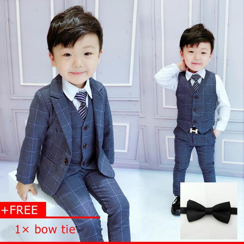 3e6de69b 3pcs/set Boys suits for weddings grid Jackets Formal Coat+Pants+Vest  children's