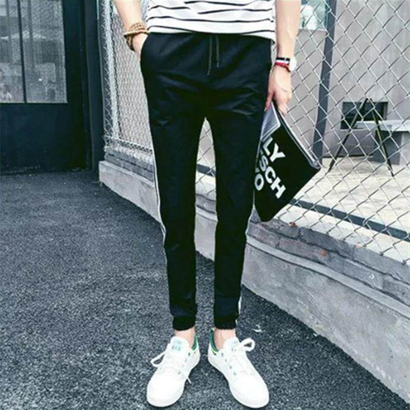 1e7394ecdfd0eb Hot style Men's Vertical stripes casual pants Teen Trousers Cropped Sports  pants Couples beam trousers