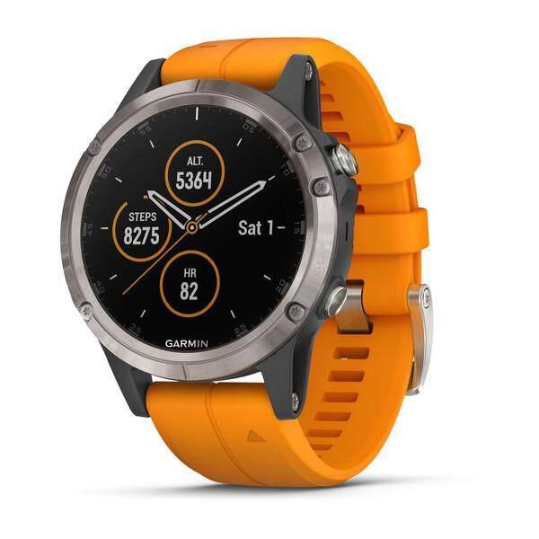ยี่ห้อไหนดี  ร้อยเอ็ด Garmin Fenix 5 Plus Sapphire Multisport Premium นาฬิกาจีพีเอส TITANIUM ซิลิโคนสีส้ม