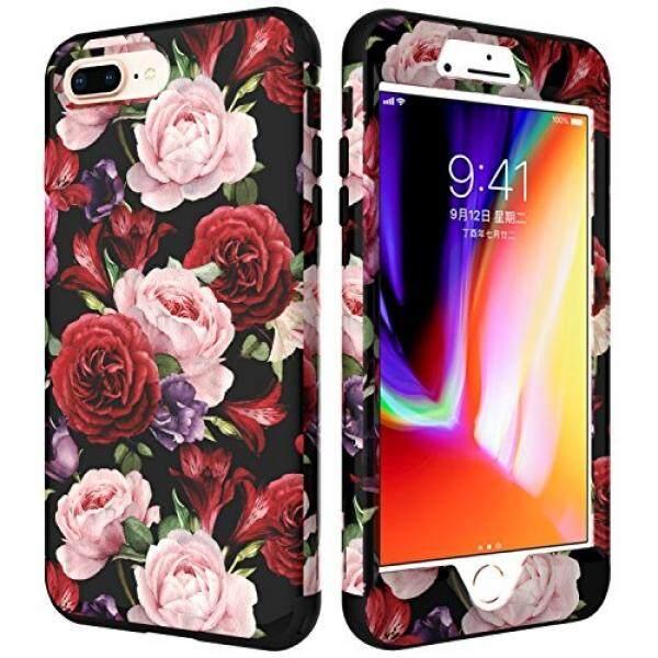 IPhone 8 PLUS Case untuk Anak Perempuan, iPhone 7 Plus Wadah Gambar Bunga, VS Case (TM) 3in1 [Shockproof] Drop Perlindungan Hybrid Impact Pertahanan Berat Tugas Tubuh Penuh Case Cover untuk Apple iPhone 7 Plus /Iphone 8 PLUS Rose-Intl