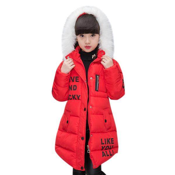 Giá bán Girl Cotton Padded Jacket Fashionable Warm Long Sleeve Hooded Coat for Kids