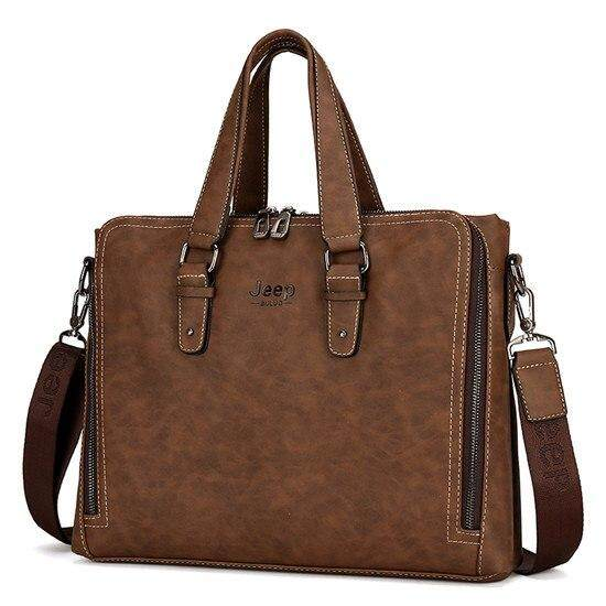 Jeep Buluo Laptop Briefcase Bag Fashion Men Nubuck Leather Bag Famous Brand Shoulder Messenger Bags Business Tote Bag By Kerry Trading.