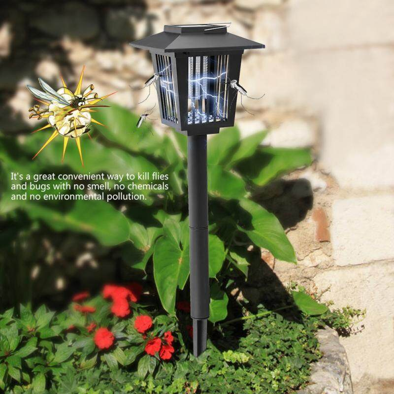 New LED Light Solar Power Insect Trap Electronic Mosquito Bugs Killer Outdoor Garden Lawn Lamp - intl