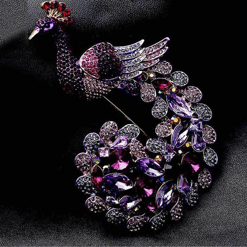 Hot sell Beautiful Animal Brooches Purple Peafowl Peacock Brooch Pin Rhinestone Crystals - intl