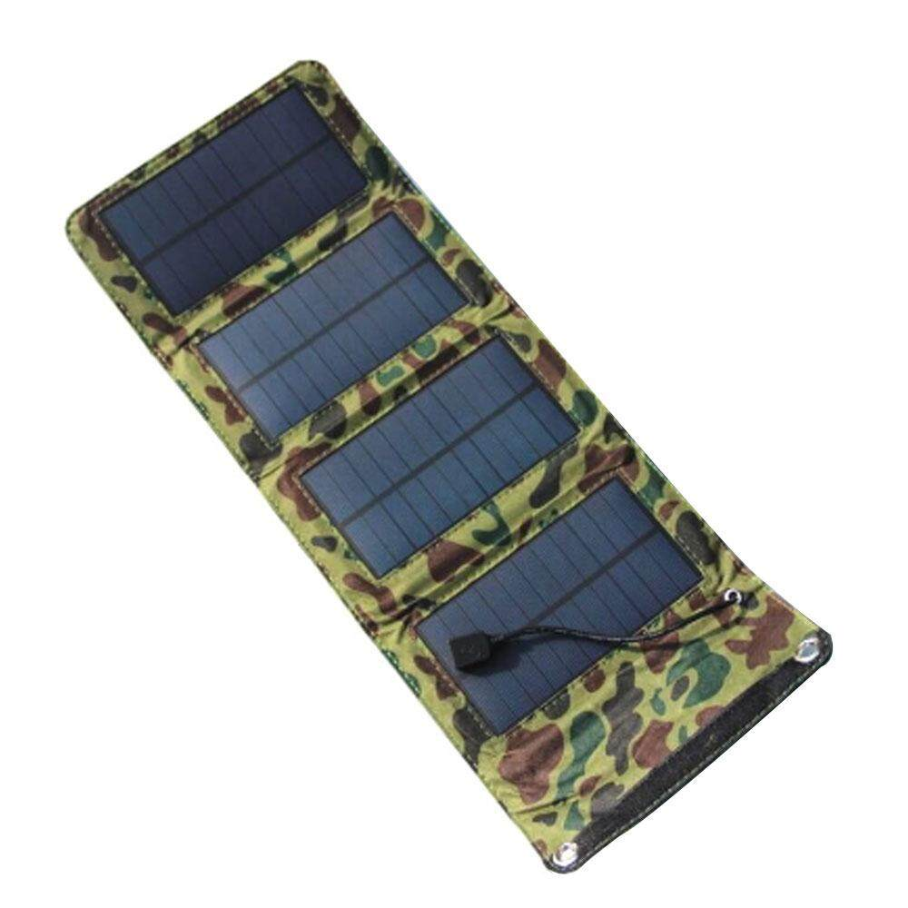 qoovan Portable Folding 7W 5.5V USB Camping Solar Panel Powered Charging Charger Battery Mobile Cell Phone Power - intl