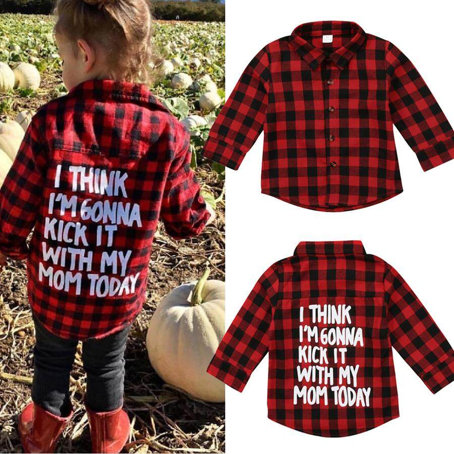 18acf60fc83 Toddler Kids Baby Boy Girl Plaid Tops Shirt Long Sleeve T-shirt Clothes