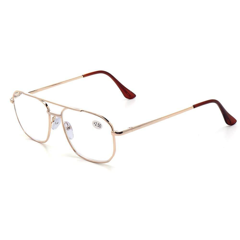 5ea4434fb39 150 Degree Men Large Lens Metal Square Frame Spring Leg Business Style Reading  Glasses