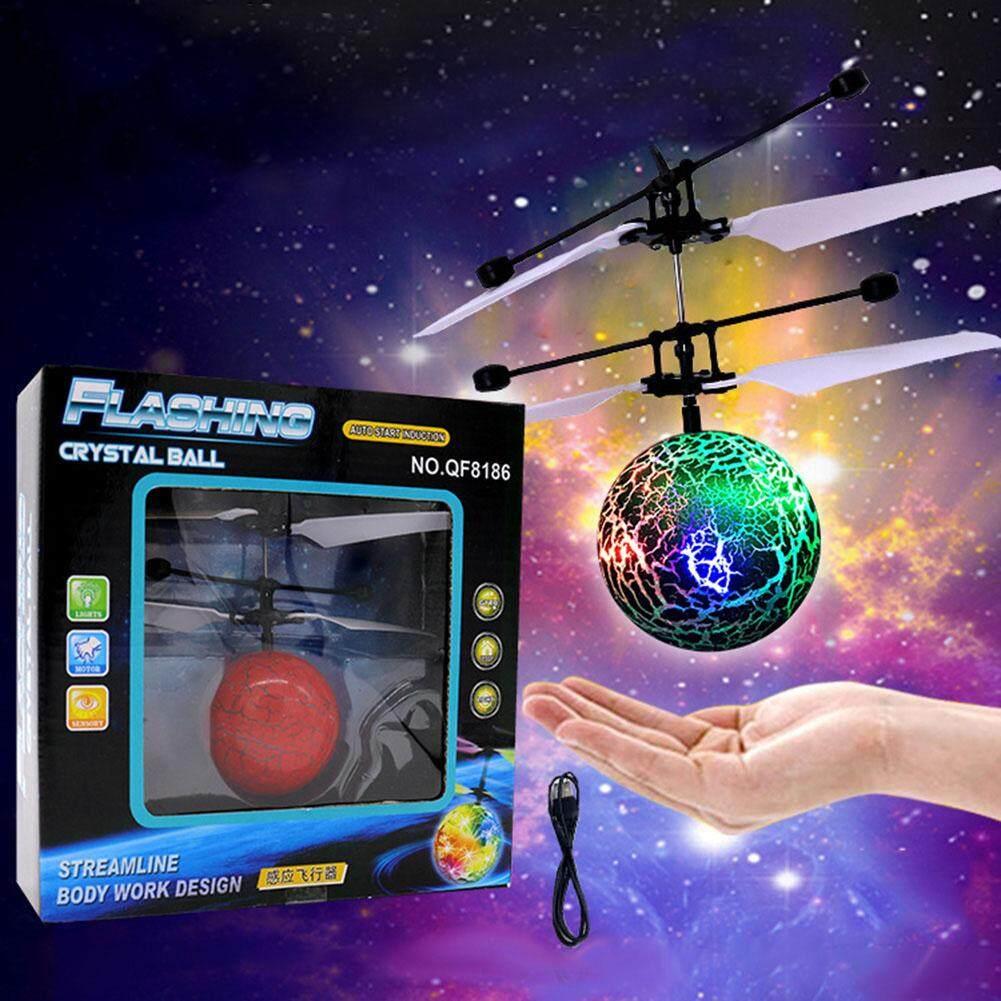 ของเล่นที่ยอดเยี่ยม Blasting Cracks กระพริบ Suspended Inductive Usb ชาร์จเครื่องบิน Star ลูกบอลลอยได้สี: สีเขียว.