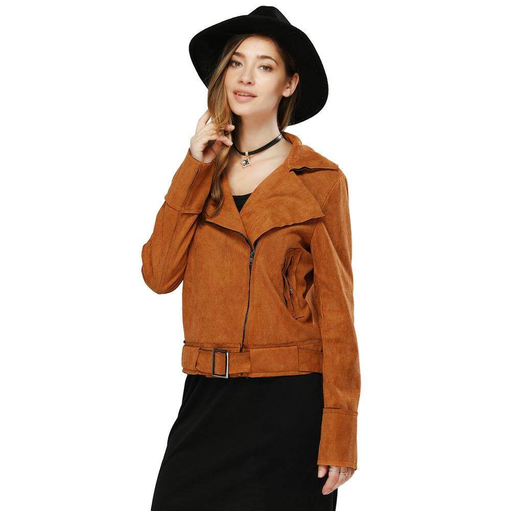 Trendi Lengan Panjang Ritsleting Tipe Murni Warna Jaket Wanita (Coklat)-Internasional