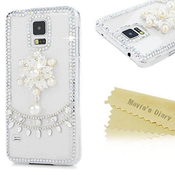Smartphone Case S Case S S5 Case, I9600 Case, maviss Diary Mewah 3D Kristal Kelap-kelip Buatan Tangan Berlian Imitasi Mutiara dan Bunga Desain Mode Shockproof Pelindung Transparan Hard Dibuat untuk Samsung Galaxy S5- internasional