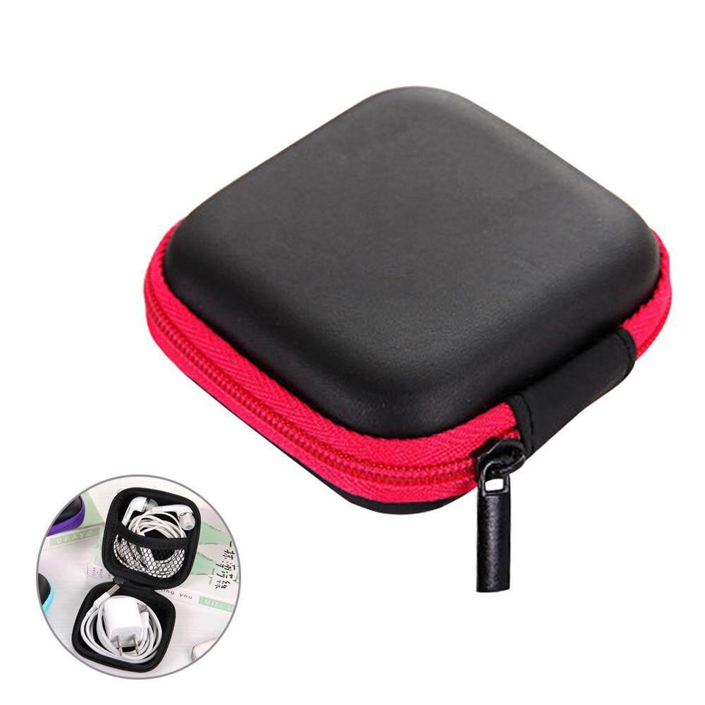 Ajkoy Zipper Keras Earphone Mini Tas Headset Kasus SD Tas Earbud Keras Tas Kartu Penyimpanan