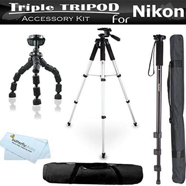 Triple Tripod Perlengkapan Untuk Nikon Coolpix P900, P600, P610, P530, p520 P510 S9300-Kamera/Optik/Teropong S6300 S4300 S3300, S4200, S3200, S5200, s9200, S9400, S9500, S3500, S6500 S6600, S6800, L330 L340, L830, l840 Kamera Digital-Internasional