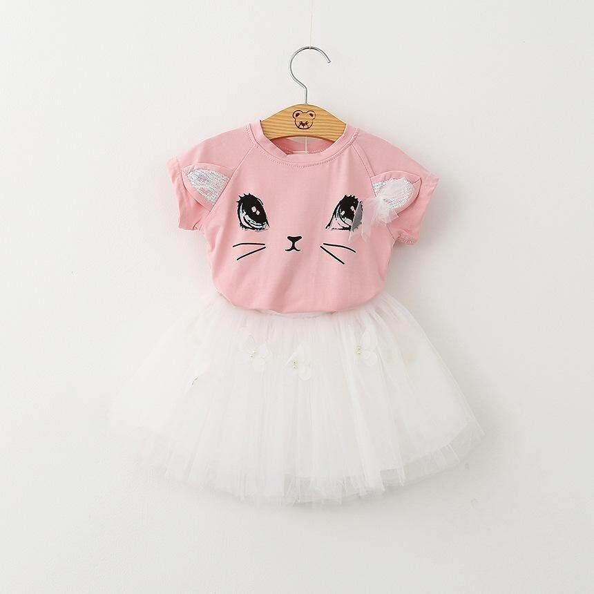 5f1e45c8af10 2PCS Sets Toddler Kids Baby Girls Outfits Clothes T-shirt Tops+Tutu Dress  Skirt