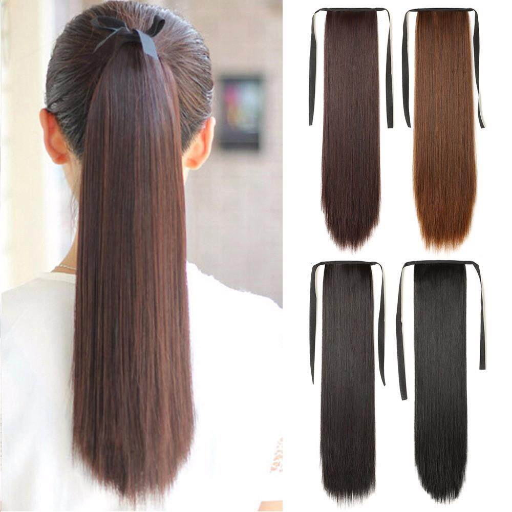 High Temperature Fiber Drawstring Long Straight Hair Wig Ponytail, Synthetic Fake Cosplay Hair Pieces Extensions