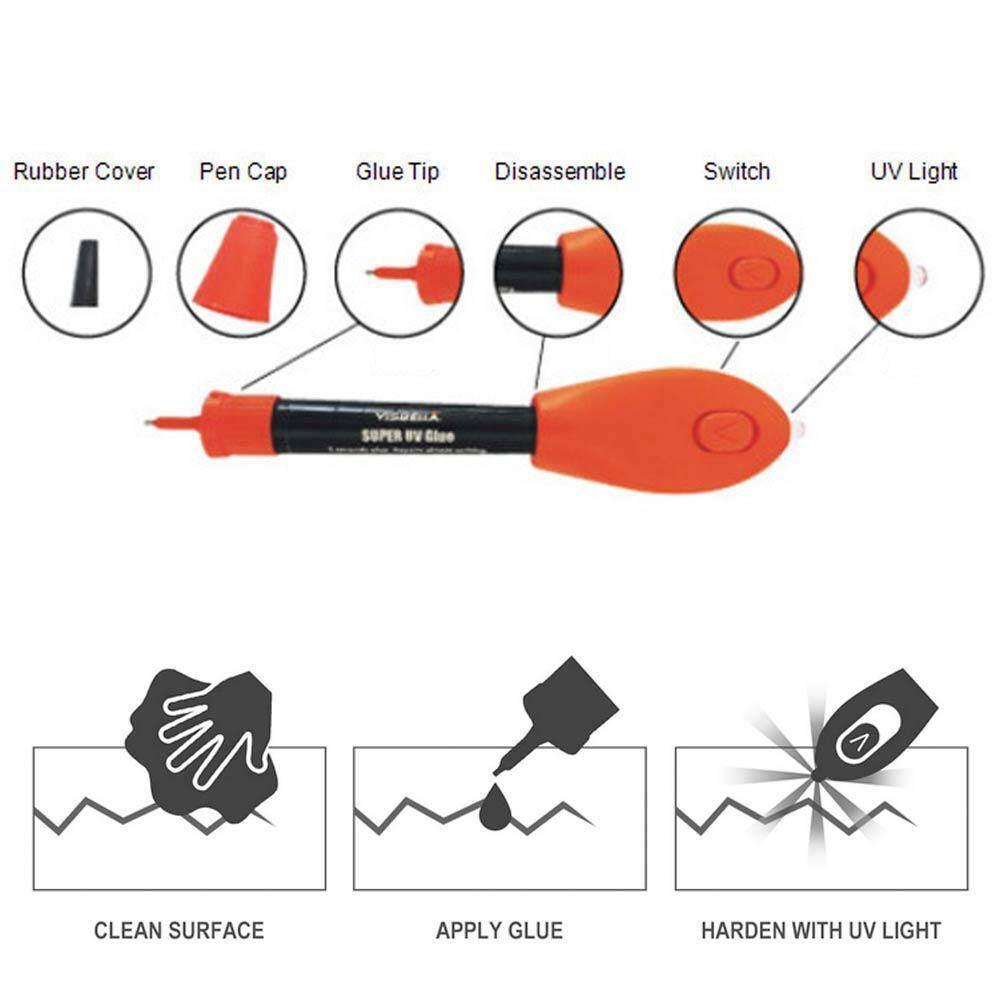SeaLavender 5 seconds fast repair pen,UV Light Curing Glue Liquid Plastic  Welder Adhesive Kit 5 Seconds Fix/Fill/Seal/Bond/Repair Almost Anything –