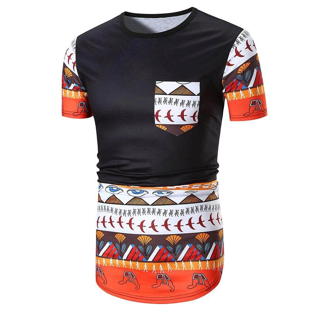Pria Panas Musim Kasual Afrika Leher O Sweater On Tanpa Kancing Kaus Lengan Pendek Blus Atasan-Internasional