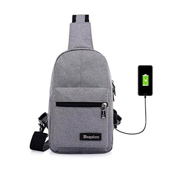 Sling Bag Shoulder Pack Chest Backpack USB Charging Port Crossbody Canvas  Rucksack Headphone Holes Design Unisex 0d82a399460b9