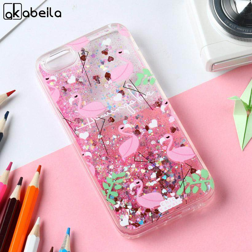 AKABEILA Flamingos Silicone Cases For Apple iPhone 7 Plus iPhone7 Plus A1661 A1784 iPhone 7 Pro 5.5 inch 158.2 x 77.9 x 7.3 mm Covers Glitter Liquid Soft TPU PC Phone Case - intl