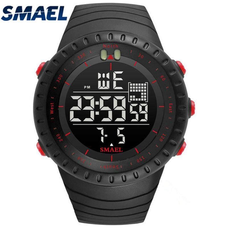 Smael Jam Tangan Pria Fashion Olahraga Jam Tangan Digital Pria Tahan Air Besar Dial Olahraga Gaya