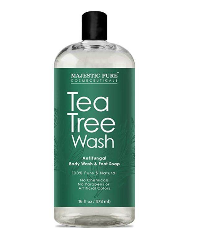 Majestic Pure Antifungal Tea Tree Body Wash, Helps Nail Fungus, Athletes Foot, Ringworms, Jock Itch, Acne, Eczema & Body Odor, Soothes Itching & Promotes Healthy Feet, Skin and Nails, Naturally Scented, 16 fl. oz.
