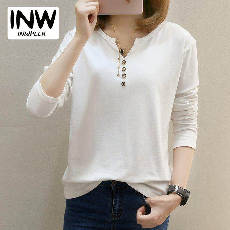 55a8adf2b414f8 INWPLLR M-5XL Women Shirt Casual Button V-Neck Tops Ladies Korean Long  Sleeve