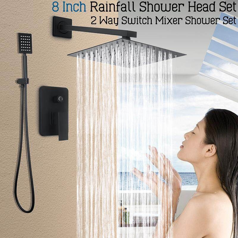 8 Wall Mounted Rainfall Shower Head Faucet Tub Spout Mixer Tap Shower Combo Set By Audew.