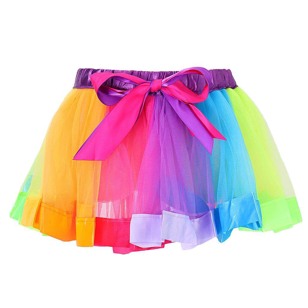 eecc0c2f3 MagiDeal Kid Child Handmade Colorful Tutu Skirt Girls Rainbow Tulle Tutu  Mini Dress M - intlIDR76000. Rp 76.000